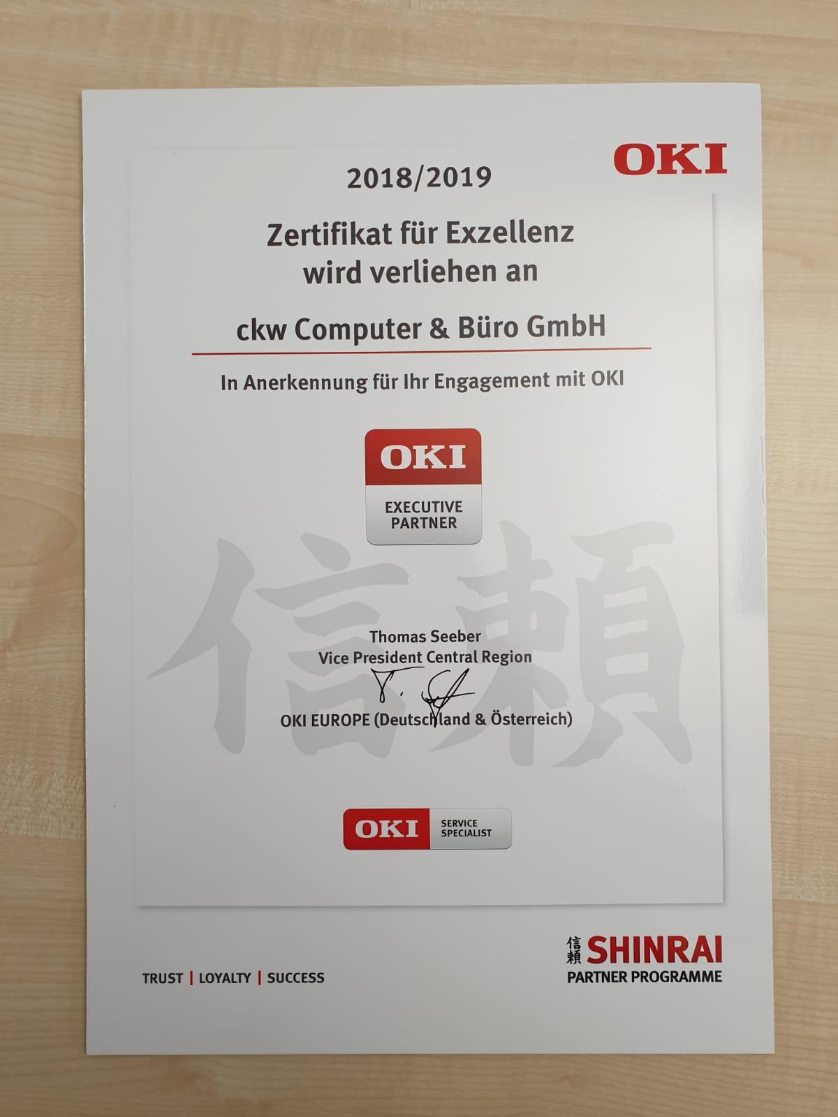 Urkunde OKI Zertifikat für Exzellenz Executive Partner ckw Computer & Büro GmbH Traunstein